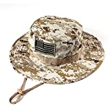 MassMall Military Tactical Head Wear/Boonie Hat Cap with USA Patch For Wargame,Sports,Fishing &Outdoor Activties Desert Camouflage