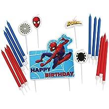 amscan 9902777 - Juego de velas de cumpleaños (17 unidades), diseño de Spiderman