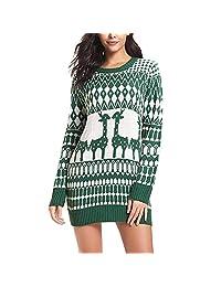 Bokeley-Christmas Sweater Women Ugly Snowflake Merry Xmas Mini Dress