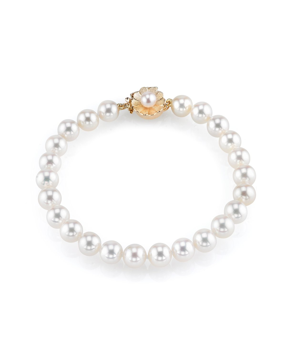 THE PEARL SOURCE AAAA Quality 8-9mm Round White Freshwater Cultured Pearl Bracelet with 14K Yellow Gold Flower Clasp in 7'' Length for Women