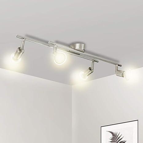 Lampadario Camera Letto Moderno Wowatt Lampada da Soffitto LED Plafoniera  Bagno Cucina Luce Soffitto Salotto Faretti Orientabili Nickel Matte 4 Luci  GU10