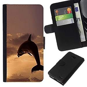 All Phone Most Case / Oferta Especial Cáscara Funda de cuero Monedero Cubierta de proteccion Caso / Wallet Case for LG OPTIMUS L90 // DOLPHIN SPLASH SUNSET