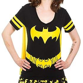 Dc Comics Batman Costume Licensed Graphic Juniors T-shirt w/Cape