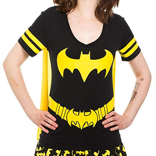 Batman Juniors T-shirt - Dc Comics Batman Costume Licensed Graphic Juniors T-shirt w/ Cape, Black (Medium)