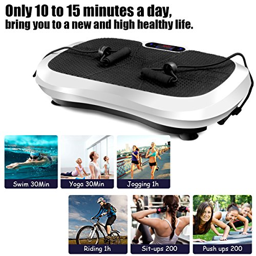 Goplus Fitness Vibration Machine Ultrathin Power Plate Full Body Shape Exercise Machine with Bluetooth Remote Control & Resistance Bands Vibration Workout Trainer (White) by Goplus (Image #5)