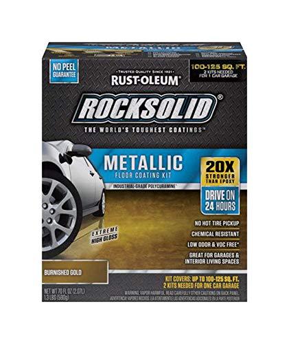(Rust-Oleum 299744 RockSolid Metallic Garage Floor Coating Burnished Gold)