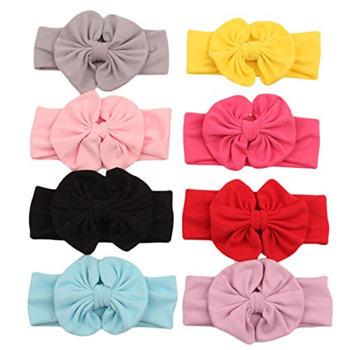 Century Star Bbay Girls Toddler Cotton Butterfly Knot Hair Accessories Hairband 8 Pcs (50s Haircuts)