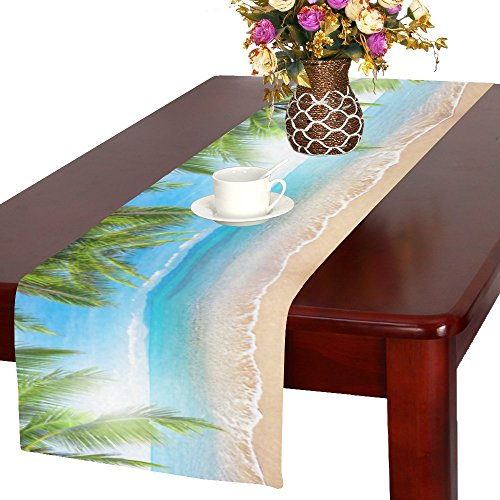 InterestPrint Summer Tropical Beach Palm Tree Long Table Runner 16 X 72 Inches, Ocean Coconut Tree Rectangle Tablecloth Placemat for Office Kitchen Dining Wedding Party Home - Coconut Water Images