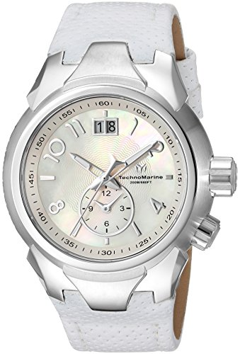 Technomarine Women's 'Sea' Quartz Stainless Steel and Leather Casual Watch, Color Silver-Toned (Model: TM-716003)