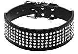 """Beirui Rhinestones Dog Collars - 2"""" width"""" Full Sparkly Crystal Diamonds Studded PU Leather - 2 Inch Wide -Beautiful Bling Pet Appearance for Medium & Large Dogs,19-22'' Black"""