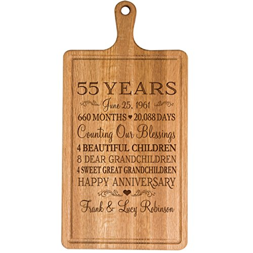 Personalized 55th Year Anniversary Gift for Him Her wife husband Couple Cheese Cutting Board Customized with Year Established dates to remember for Wedding Gift ideas by Dayspring Milestones