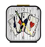 Bernie Gresham Poker A Wood Custom Square Black Alarm Clock