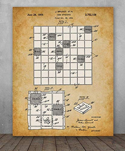 Poster - Scrabble Game Patent - Choose Unframed Poster or Canvas - Makes a Great Gift for Game Room Decor