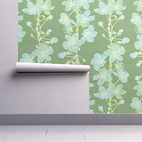 Peel-and-Stick Removable Wallpaper - Cherry Blossom Green Light Blue Yellow Floral Botanical Foxlark Cherry by Fox&Lark - 24in x 96in Woven Textured Peel-and-Stick Removable Wallpaper Roll