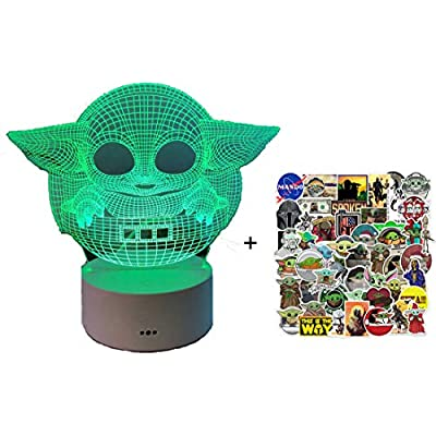 2 Pack Baby Yoda Inspired Night Light for Kids Room Decor 16 Colors + 50pcs Stickers Decal: Arts, Crafts & Sewing