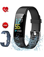 Semaco Fitness Tracker, Colour Screen Activity Tracker Waterproof Heart Rate Monitor with Pedometer Sleep Monitor Step Calorie Counter Smartwatch for Kids Men Women (Black+grey)
