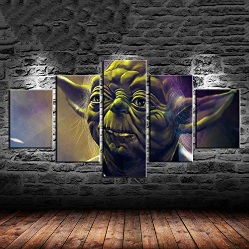 Yoda Star Wars 5 Panel Canvas Painting Print Living Room Home Decor Modern Wall Art Oil Painting Poster Wooden Framed Ready to Hang,B,20×35×220×45×220×55×1