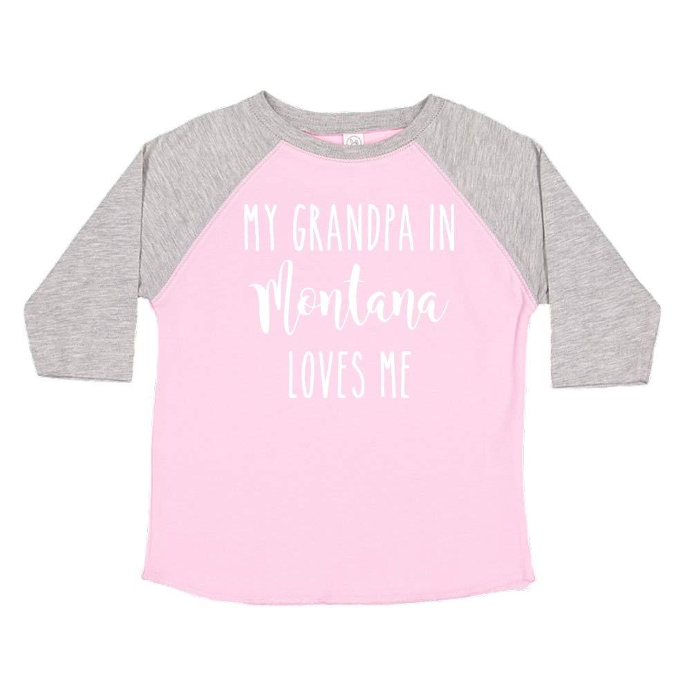 My Grandpa in Montana Loves Me Toddler//Kids Raglan T-Shirt
