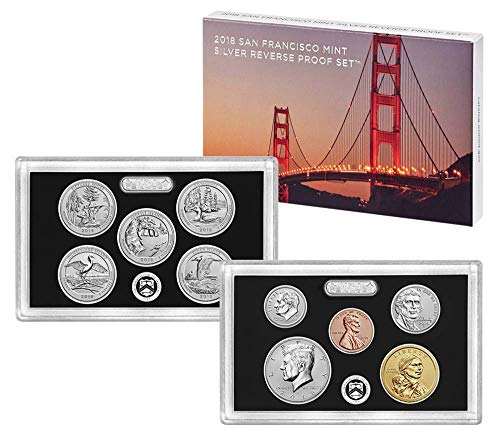- 2018 S 10-Coin Silver Reverse Proof Set with Penny, Nickel, Dime, 5-ATB Quarters, Half and Dollar Beautiful DCAM Proof Set in OGP with COA