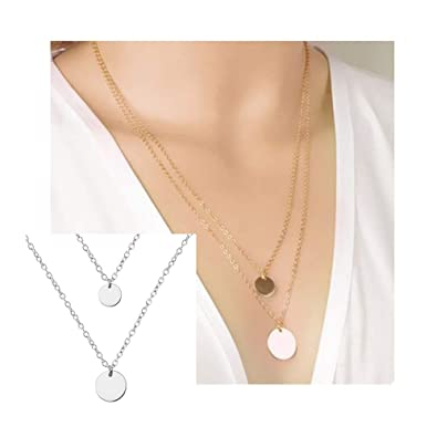 fcf0d649f6cf58 Amazon.com: palettei Double Layered Gold Chain Necklace Hammered Disc Round  Sequin Coin Necklace Beach Jewelry (Silver): Jewelry