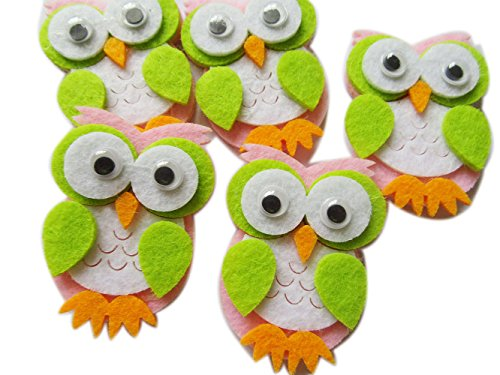 YYCRAFT 20pcs Felt Owl Animals Applique for Baby Shower Party Decoration,Scrapbooking Craft Projects (Pink)