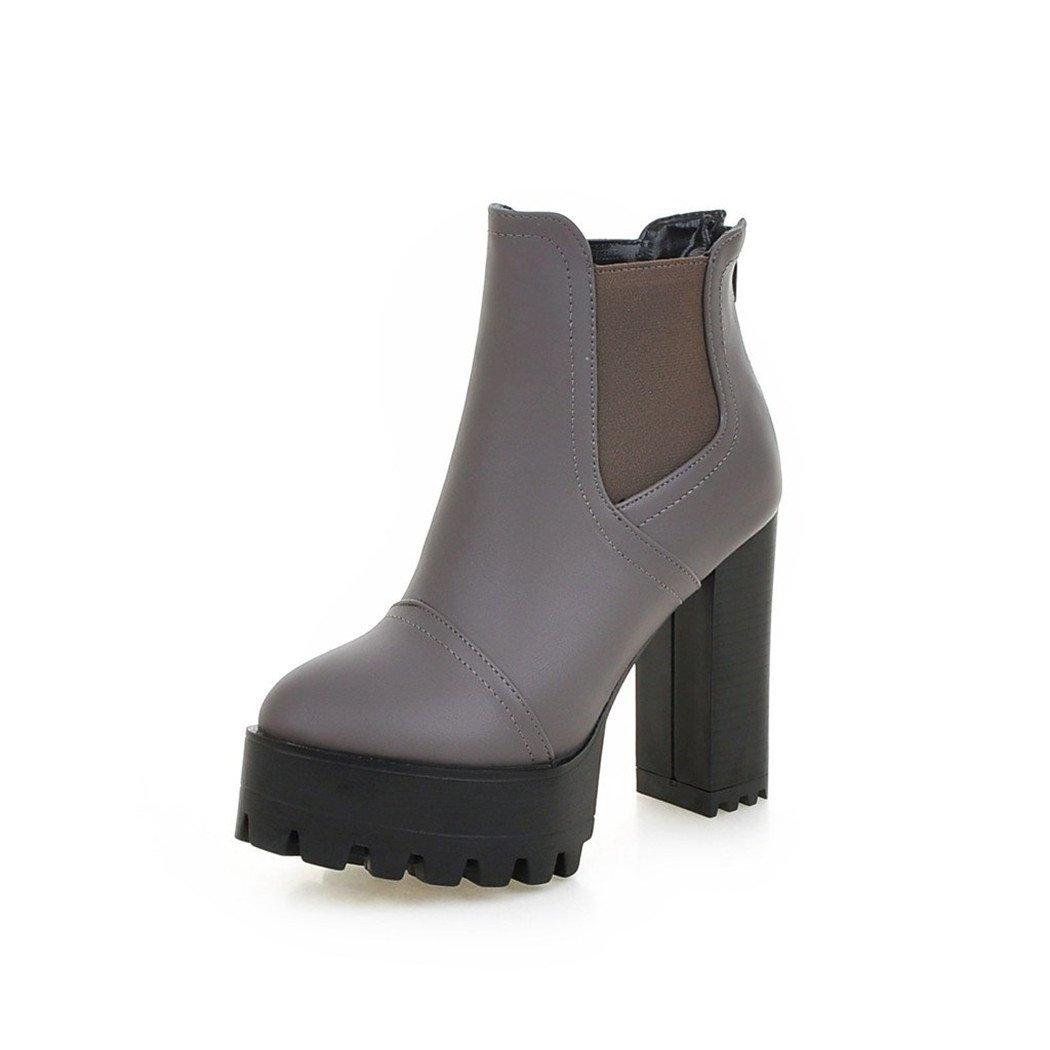 ZQ@QX Tête ronde avec des talons hauts fashion zipper bottes imperméables chers
