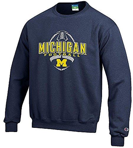 Youth Michigan Wolverines Football Powerblend Screened Crew Sweatshirt (10-12)