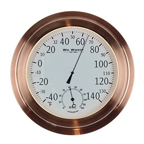 WM Widdop Barometer Temp/Thermometer Copper Metal Porthole 22cm by William M.