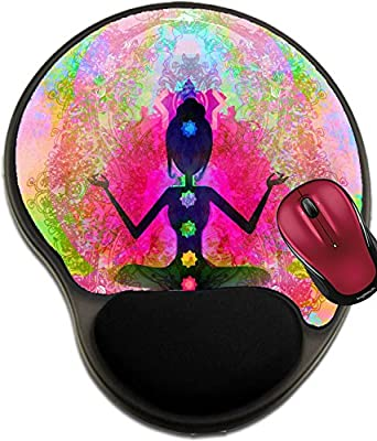 Liili Mousepad wrist protected Mouse Pads/Mat with wrist support design Yoga lotus pose Padmasana with colored chakra points IMAGE ID 17779007