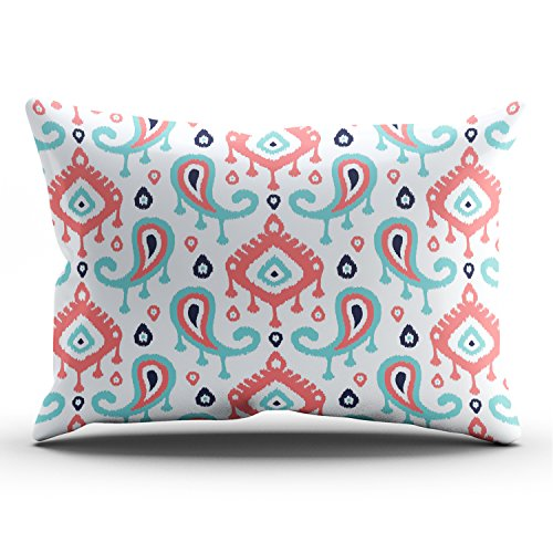 Paisley Satin Pillowcase - Hoooottle Custom Navy Turquoise and Coralkat Paisley Fancy Pillowcase Rectangle Zippered One Side Design Printed 12x24 Inch Lumbar Throw Pillow Case Cushion Cover