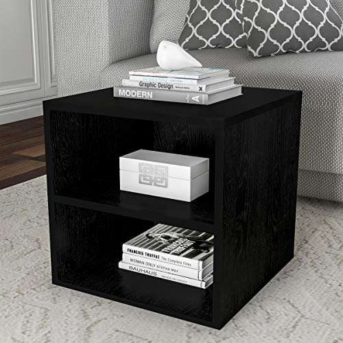 Cube Accent Table - Lavish Home 80-MOD-6 End Stackable Contemporary Minimalist Modular Cube Accent Table Double Shelves for Bedroom, Living Room or Office (Black),