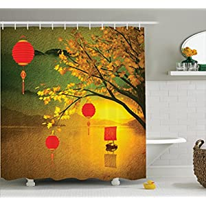 Lantern Decor Shower Curtain Set By Ambesonne, Traditional Chinese Lanterns Hanging From Pale Fall Trees Over The Lake Faded Nature Photo, Bathroom Accessories, 69W X 70L Inches, Multi
