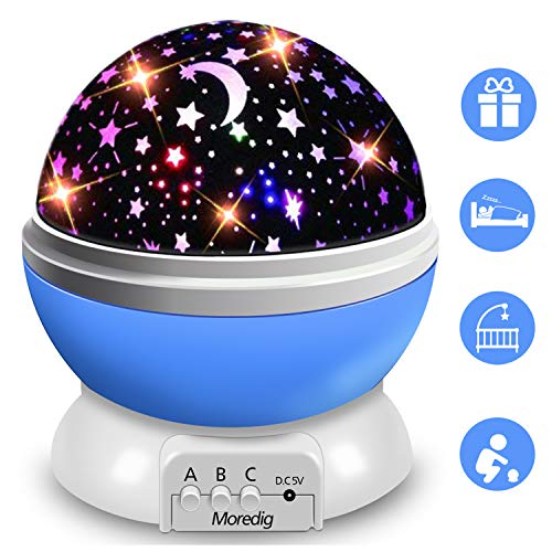 (Moredig Night Light Projector, 360 Degree Rotation Kids Projector Night Light with 8 Multicolor, Starry Light Best Presents for Kids Nursery Bedroom - Blue)