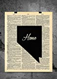 Nevada State Vintage Map Vintage Dictionary Print 8x10 inch Home Vintage Art Abstract Prints Wall Art for Home Decor Wall Decorations For Living Room Bedroom Office Ready-to-Frame Home