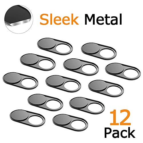 (Webcam Cover Slide 0.027in Ultra Thin Metal Magnet Web Camera Cover MacBook Pro Laptops Smartphone Mac PC Tablets Protecting Your Privacy Security Black(12 Packs))