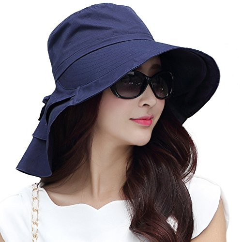 Siggi Summer Bill Flap Cap SPF 50 Cotton Sun Golf Hat with Neck Cover Cord Crushable Wide Brim for Women Navy