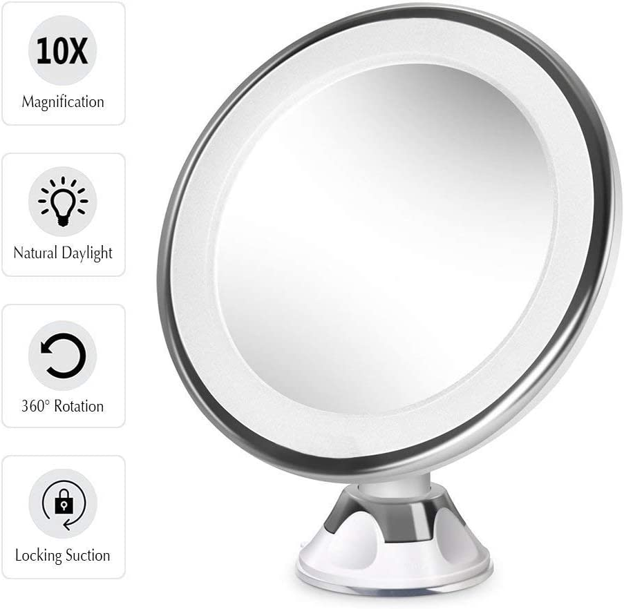 10x Magnifying Lighted Makeup Mirror-for 360 Degree Swivel Rotation and Locking Suction Flawless Cosmetic Application and Personal Care,Tweezing Eyebrows, Portable Compact LED Travel Vanity Mirror Whi