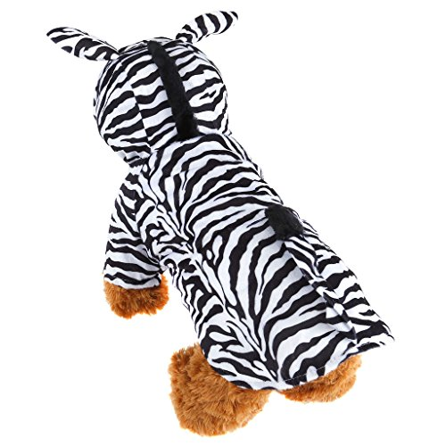 Mogoko Pet Clothes for Puppy Cat Small Dog velvet Zebra Design Costume Hooded Jumpsuit Coat for Halloween Christmas Festival Party Cosplay or Daily (Dog Zebra Costume)