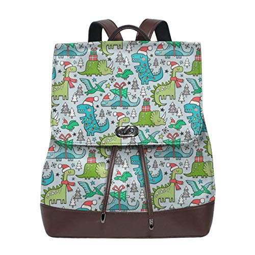 Fashion Leather Backpack Holiday Holidays Dinosaurs U Trees On Light Smaller Tiny Inch Purse Waterproof Anti Rucksack PU Leather Bags