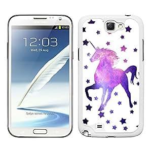Funda carcasa para Samsung Galaxy Note 2 estampado estrellas con unicornio fondo nebulosa borde blanco