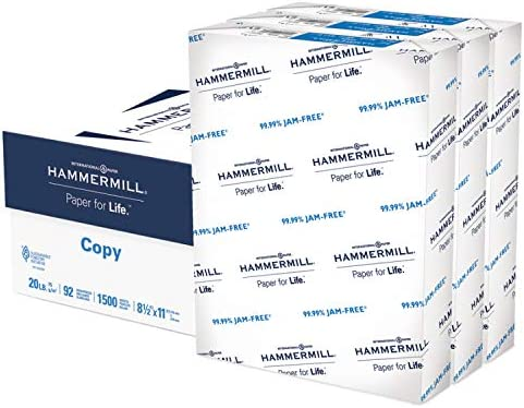 Hammermill Printer Paper, 20 lb Copy Paper, 8.5 x 11 - 3 Ream (1,500 Sheets) - 92 Bright, Made in the United States