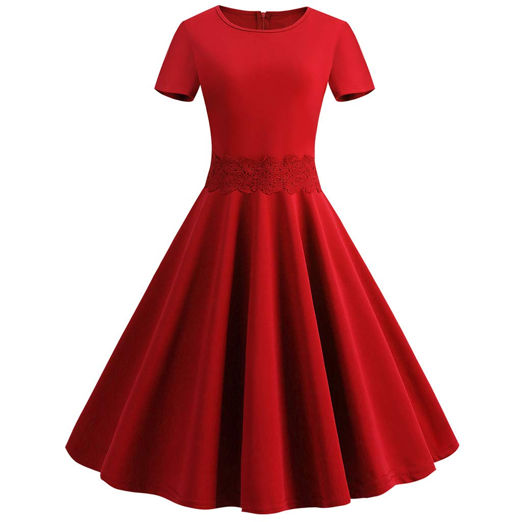 Hotkey Womens Work Dresses Office Women Vintage 1950S Retro Short Sleeve O-Neck Solid Party Prom Swing Dress Red