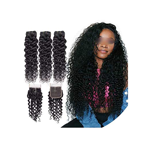 Hair Brazilian Hair Weave Bundles With Closure Water Wave 3 Bundles With Closure 100% Human Hair Bundles With Lace Closure,14 16 16 & Closure12,Natural Color,Free Part]()