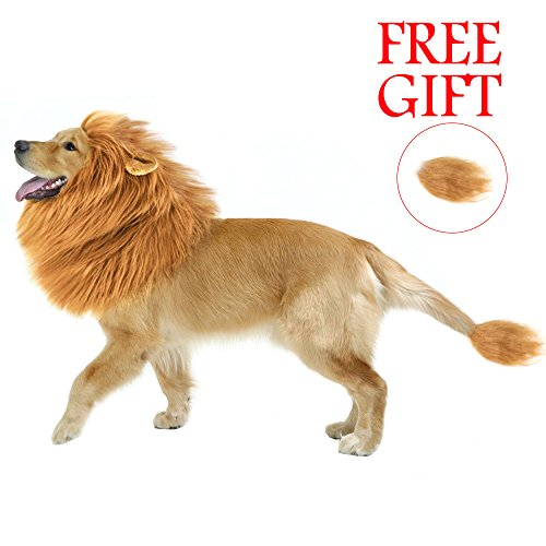 Lion Costume For Big Dogs (Dog Lion Mane, Turn Your Dog Into A Strong Lion, Big Pet Dog Lion Wig Mane, Lovely Tail, Festive Party Gorgeous Costume (light brown))
