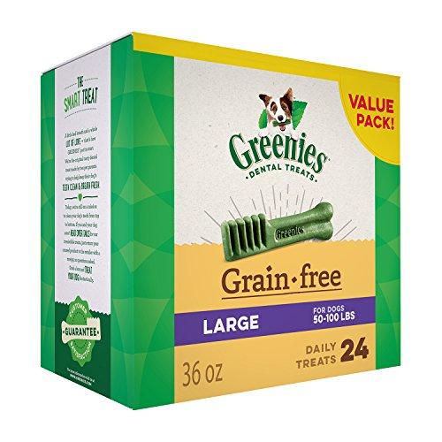 GREENIES Grain Free Large Natural Dental Dog Treats, 36 oz. Pack (24 Treats)
