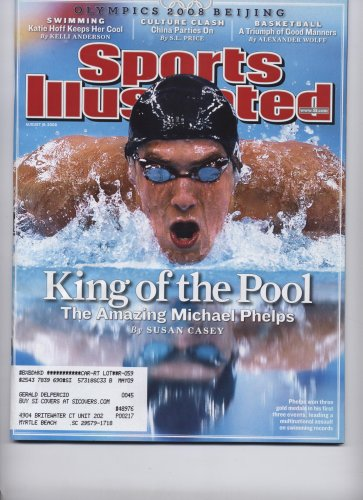 Sports Illustrated (King of the Pool - The Amazing Michael Phelps, August 18, 2008) (Cards Phelps)
