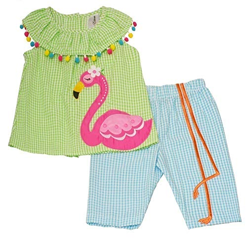 Rare Editions Little Girls Lime Blue Checkered Flamingo 2 Pc Pants Outfit 6X