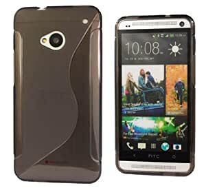 Grey S-Line Back Case Flexible TPU Cover for HTC One M7