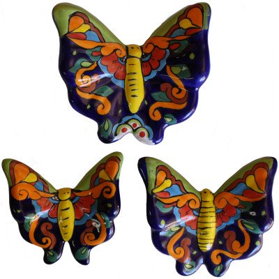 Kitchen Craft Ceramic - Fine Crafts Imports Multicolor Talavera Ceramic Butterfly Set (3)