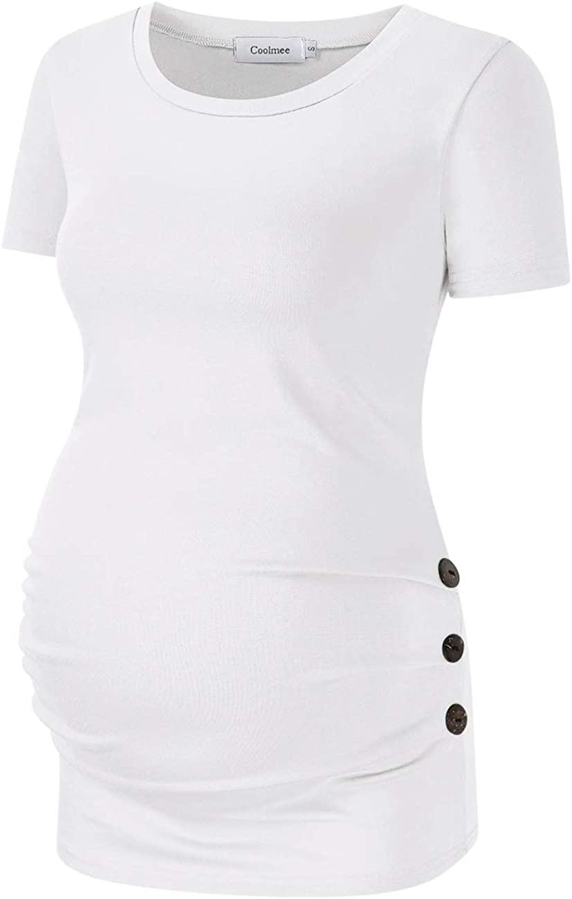 Coolmee Maternity Shirt Side Button and Ruched Maternity Tunic Tops Maternity Short Sleeve T-Shirts